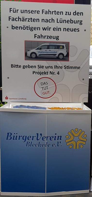 Für unsere Fahrten zu den Fachärzten nach Lüneburg benötigen wir ein neues Fahrzeug. Bitte geben Sie Ihre Stimme für Projekt Nr. 4